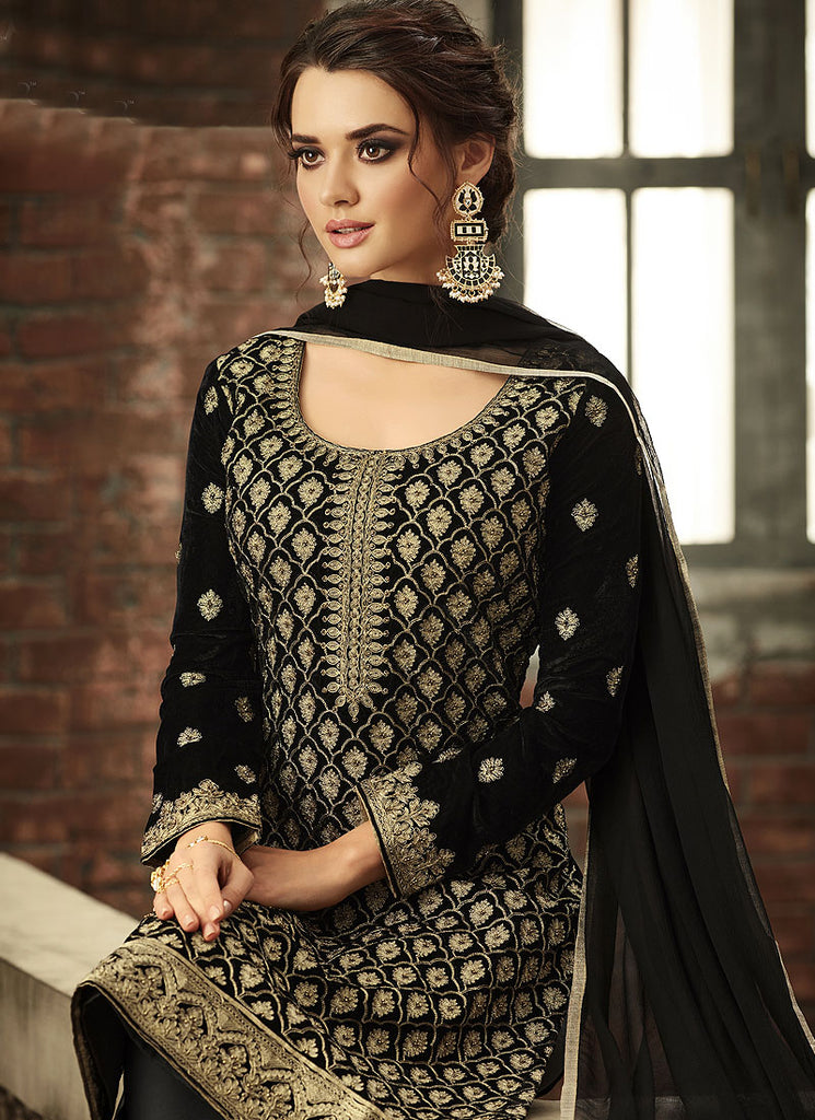 Black and Gold Embroidered Straight Cut Suit