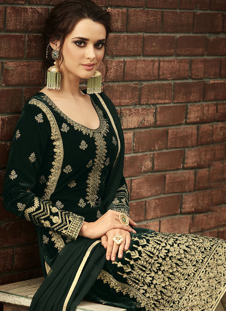 Green and Gold Embroidered Straight Cut Suit