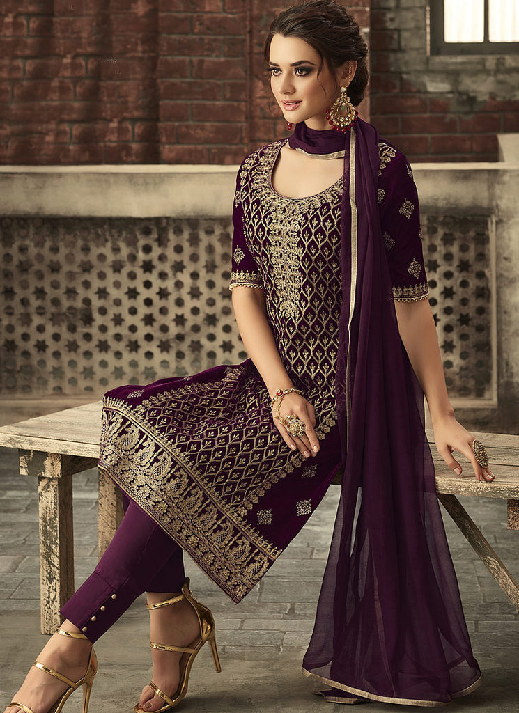 Purple and Gold Embroidered Straight Cut Suit