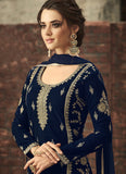Blue and Gold Embroidered Straight Cut Suit