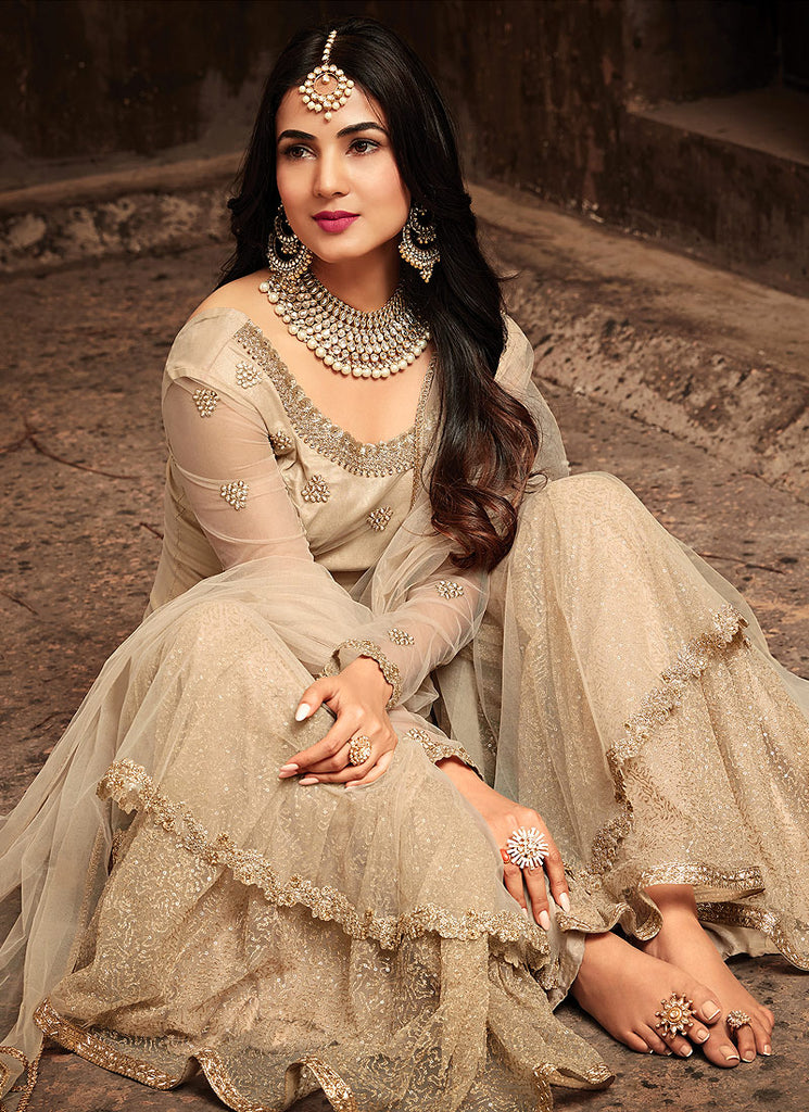 Light Beige and Gold Embroidered Gharara Suit