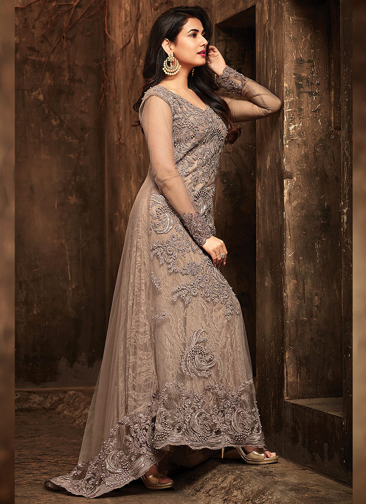 Grey Embroidered Trail Style Anarkali