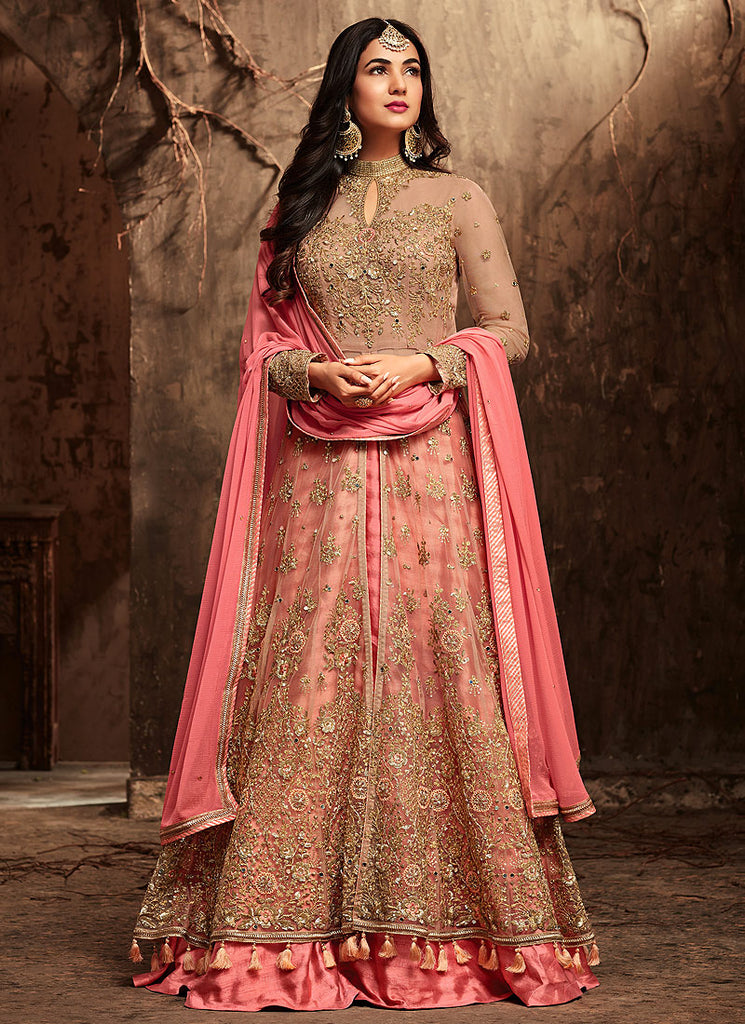 Beige and Pink Embroidered Lehenga/Pant style Anarkali