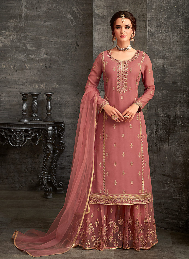 Light Pink and Gold Embroidered Palazzo Suit