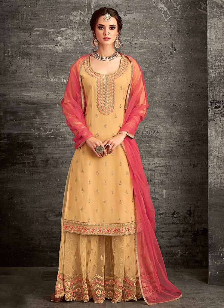 Golden Yellow and Pink Embroidered Palazzo Suit