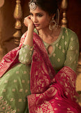 Green and Pink Embroidered Lehenga Anarkali