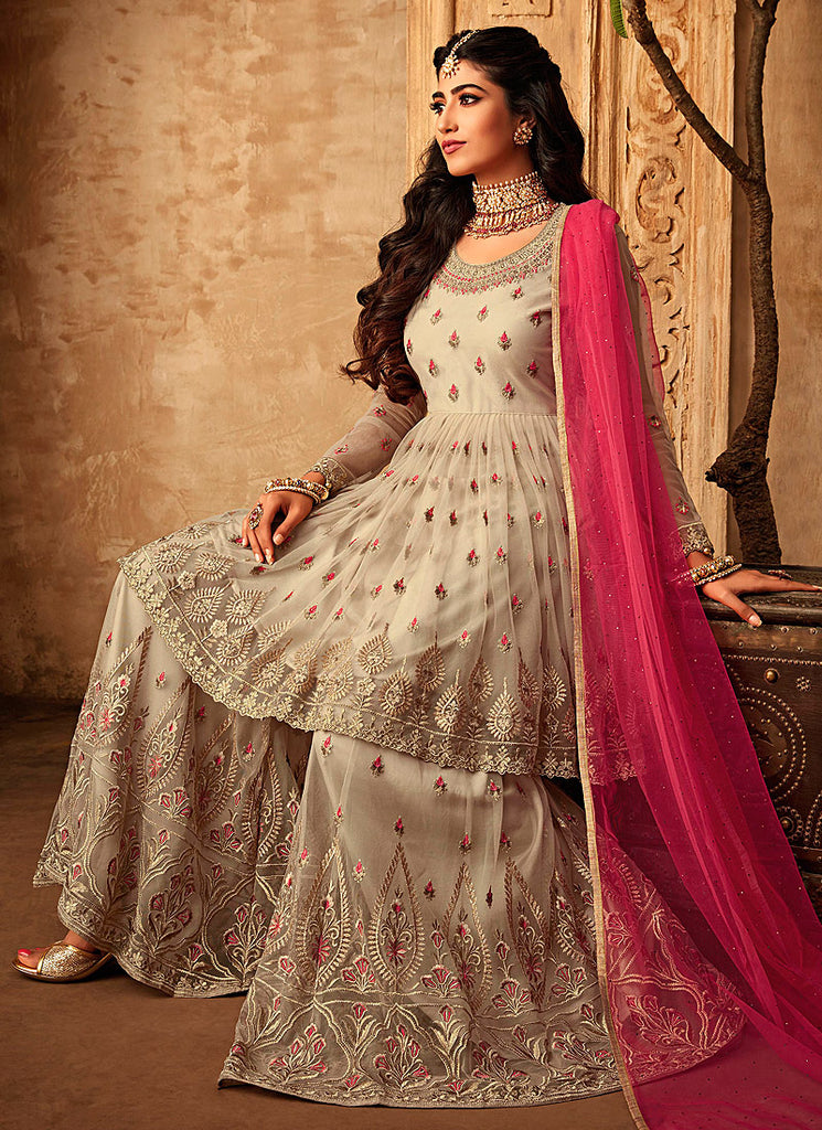 Offwhite and Pink Embroidered Sharara Suit