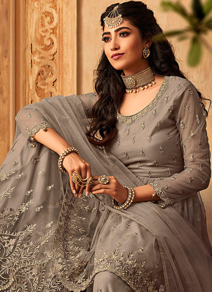 Light Grey Embroidered Sharara Suit