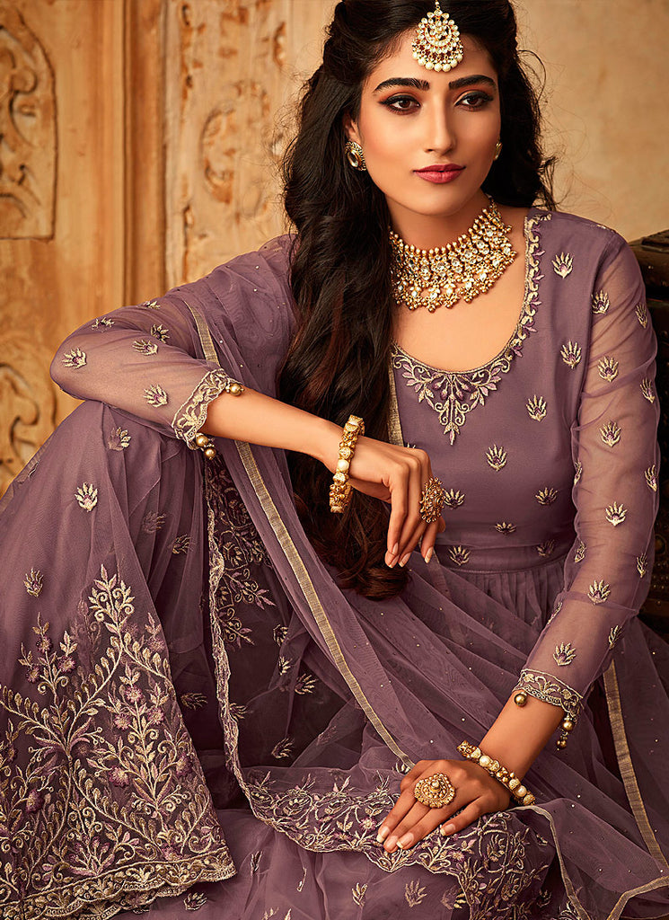 Light Purple Embroidered Sharara Suit