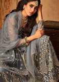 Blue Grey Embroidered Sharara Suit