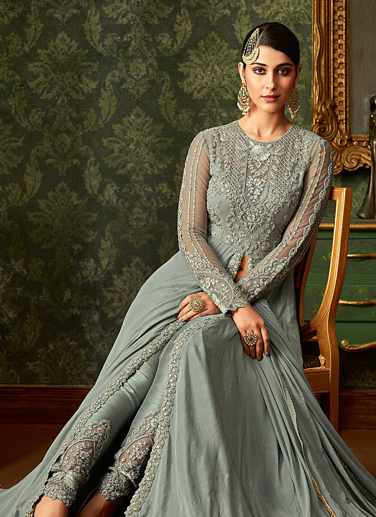 Light Green Embroidered Pant Style Anarkali