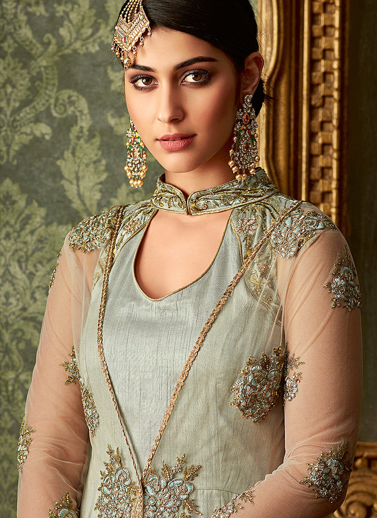 Silver Embroidered Jacket Style Anarkali