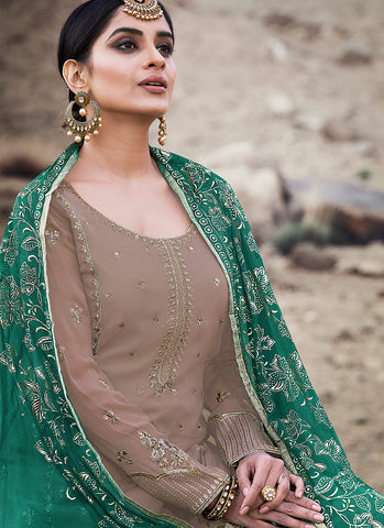 Light Brown and Gold Embroidered Sharara Suit