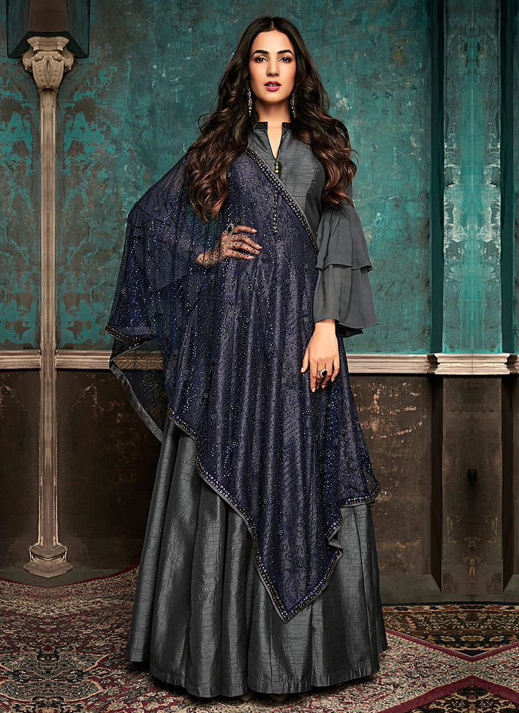 Grey and Blue Embroidered Anarkali