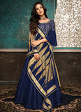 Blue and Gold Embroidered Anarkali