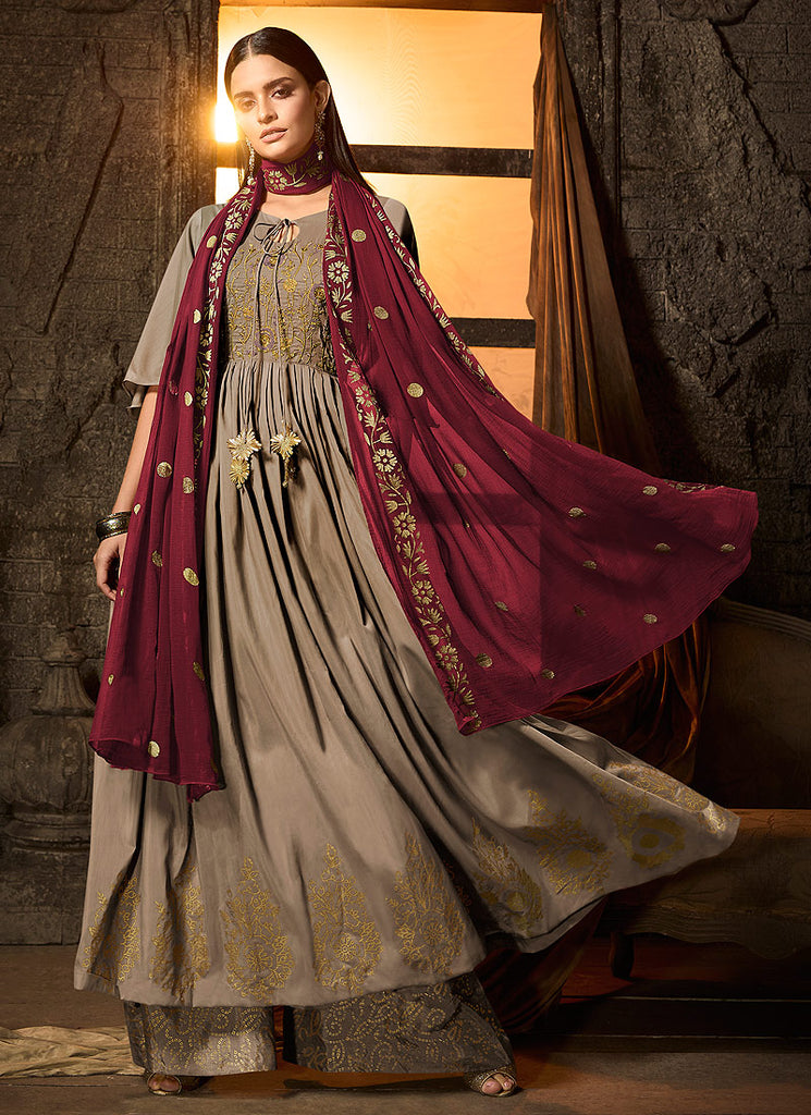 Grey and Maroon Embroidered Sharara Suit