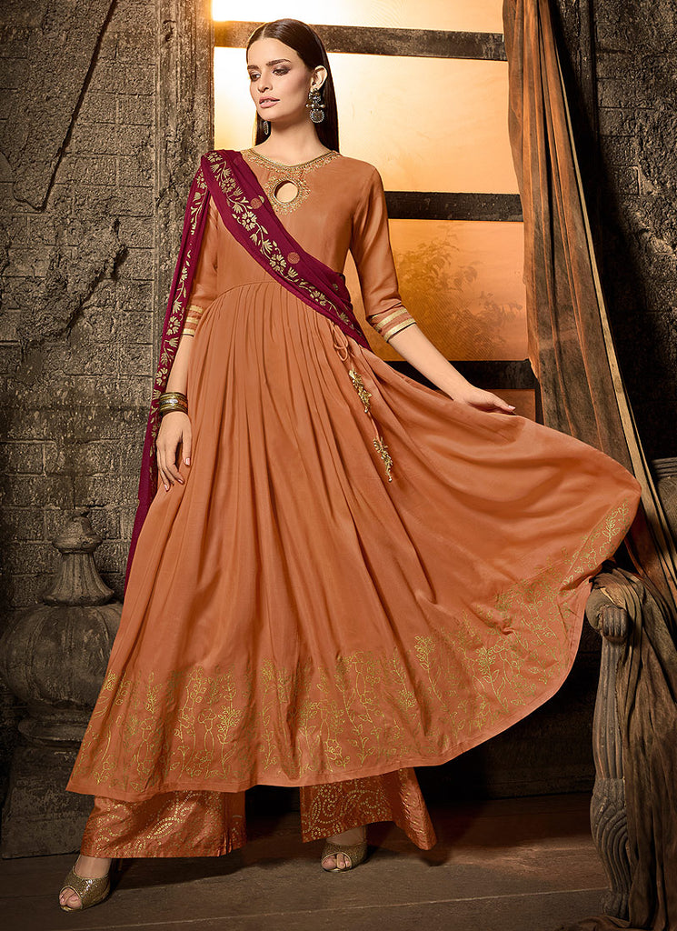 Orange and Maroon Embroidered Sharara Suit