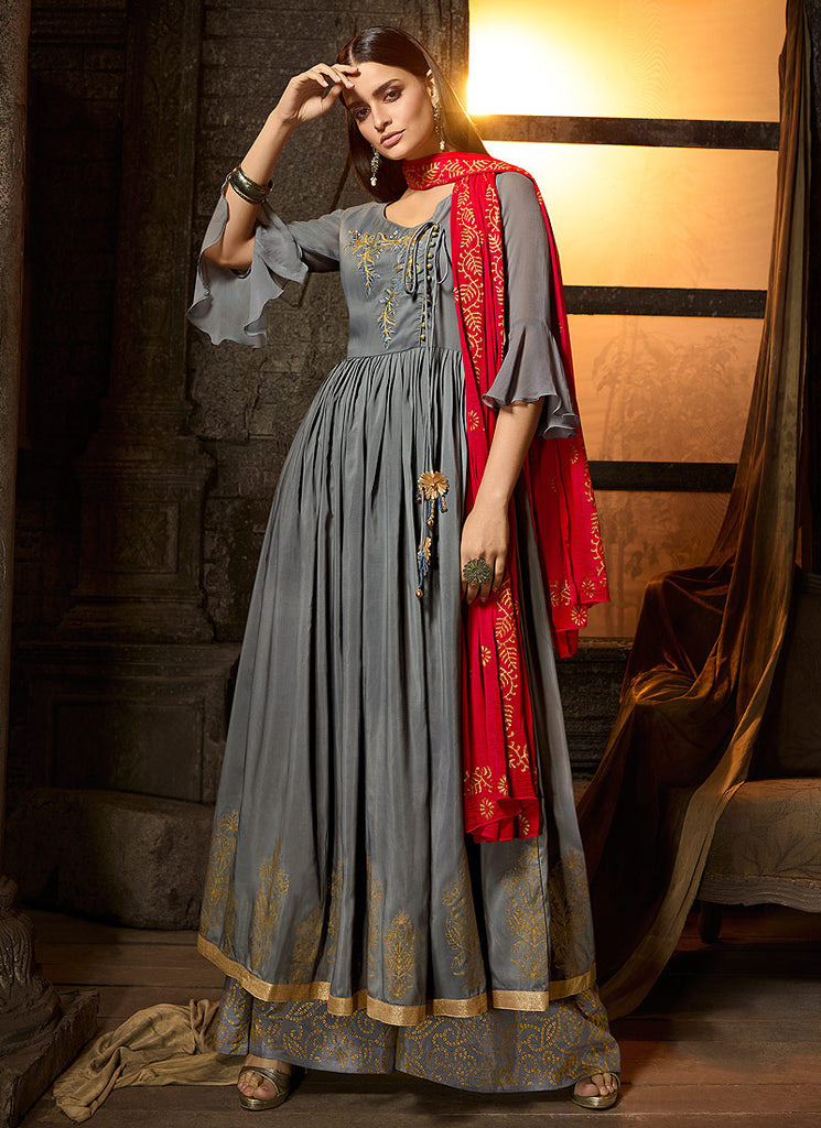 Blue and Pink Embroidered Sharara Suit