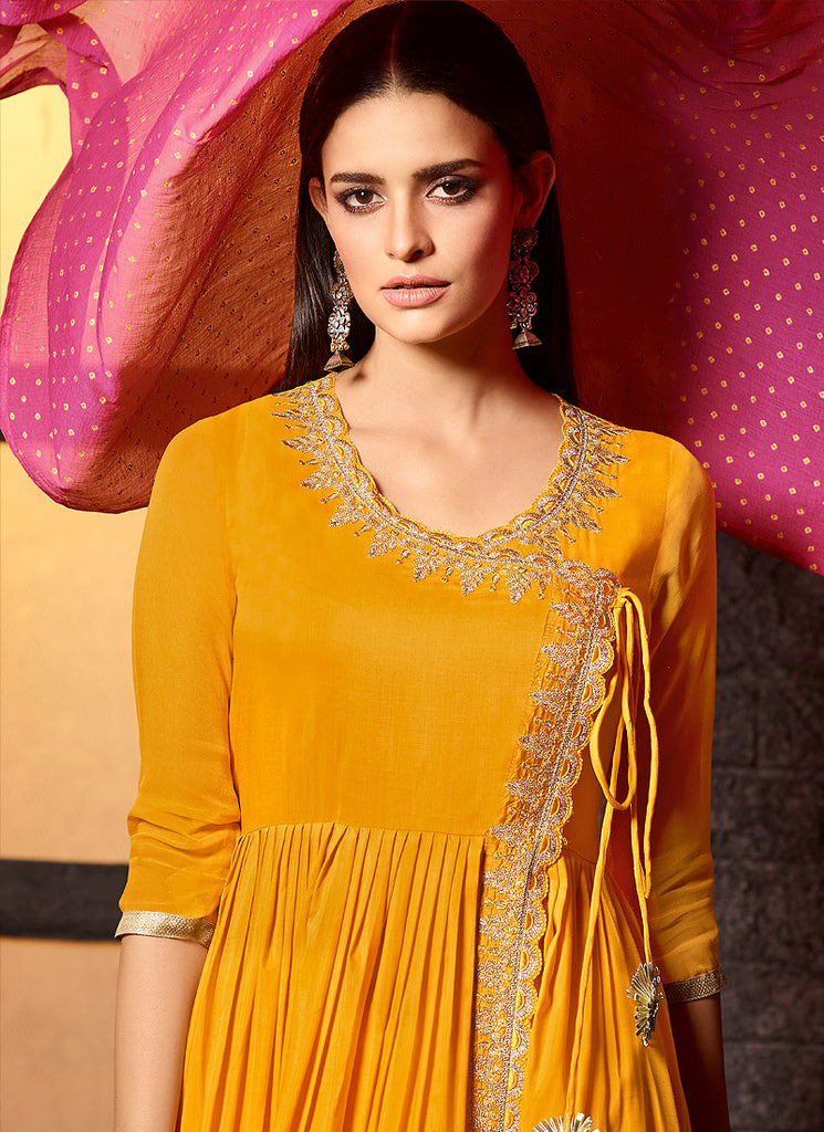 Yellow and Pink Embroidered Sharara Suit