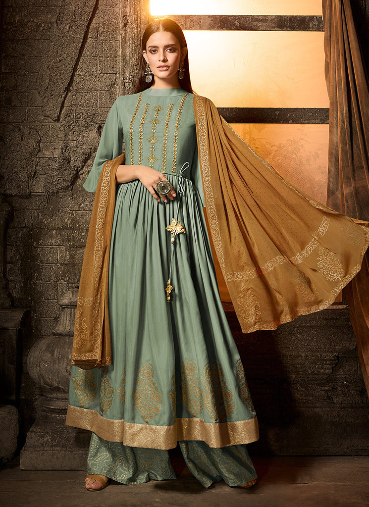 Green and Beige Embroidered Sharara Suit