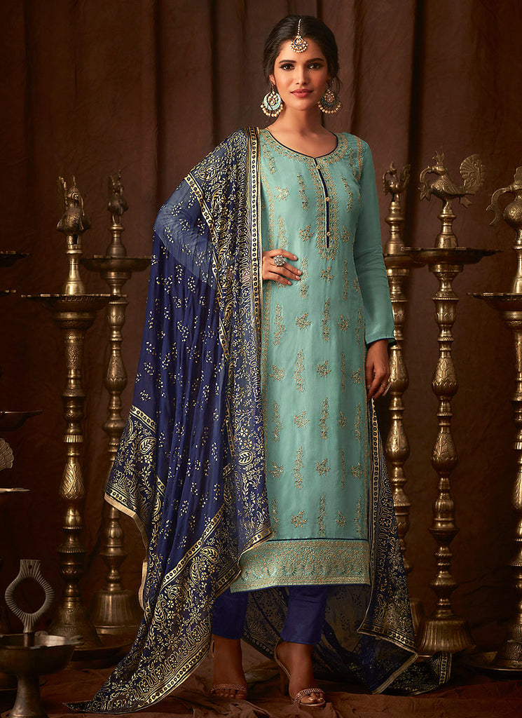 Aqua and Blue Embroidered Straight Pant Suit