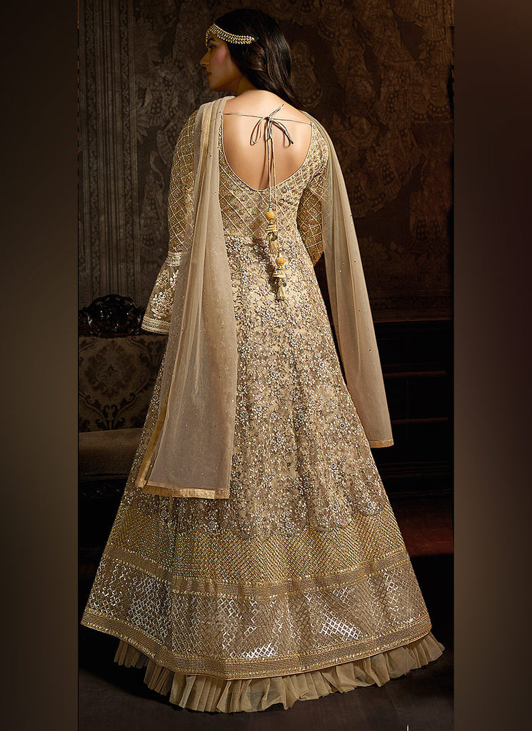 Beige and Gold Heavy Embroidered Anarkali