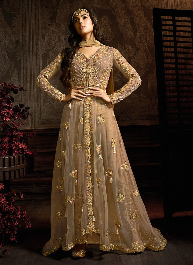 Brown and Gold Embroidered Pant Style Anarkali