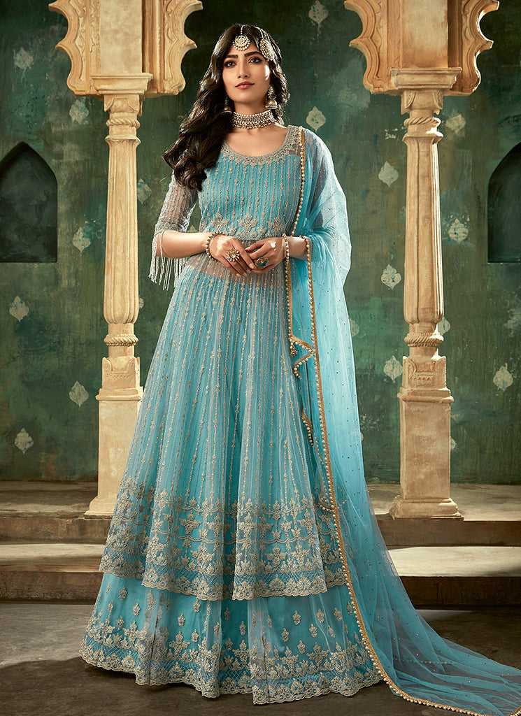 Aqua and Gold Embroidered Lehenga Anarkali