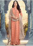 PEACH AND GREY EMBROIDERED ANARKALI SUIT
