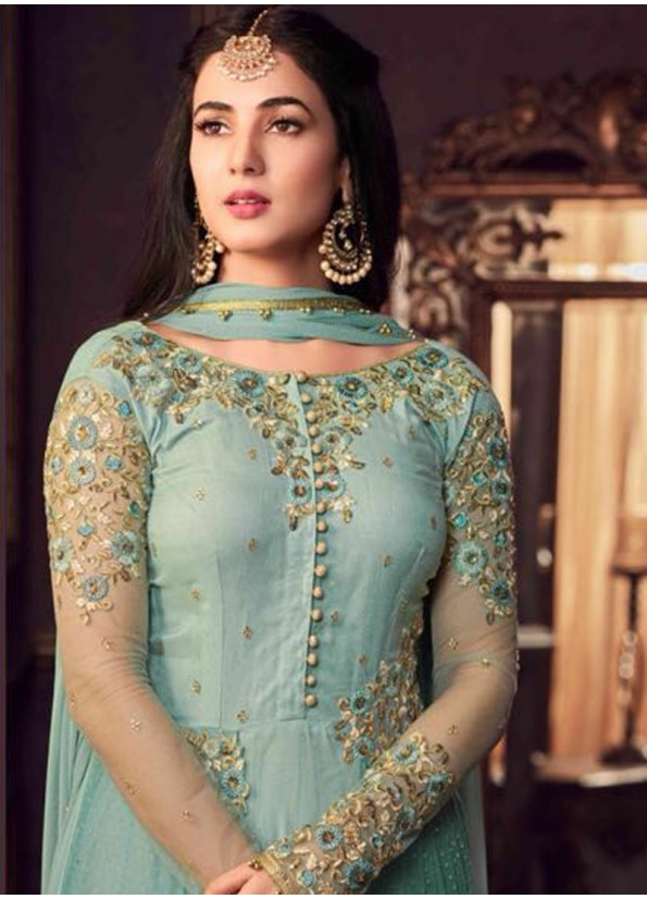 AQUA AND GOLD EMBROIDERED ANAKALI