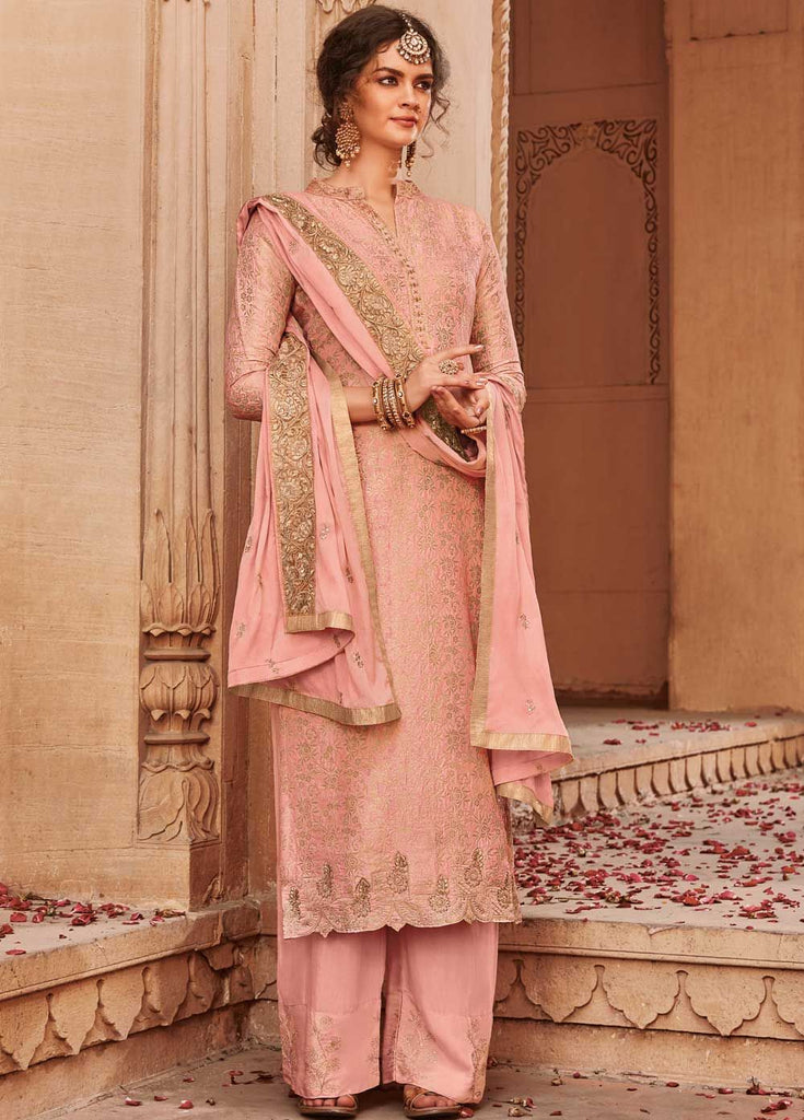 Adorable Peach Party Wear Palazzo Style Suit