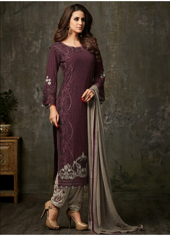 DEEP PURPLE GEORGETTE PANT STYLE SUIT
