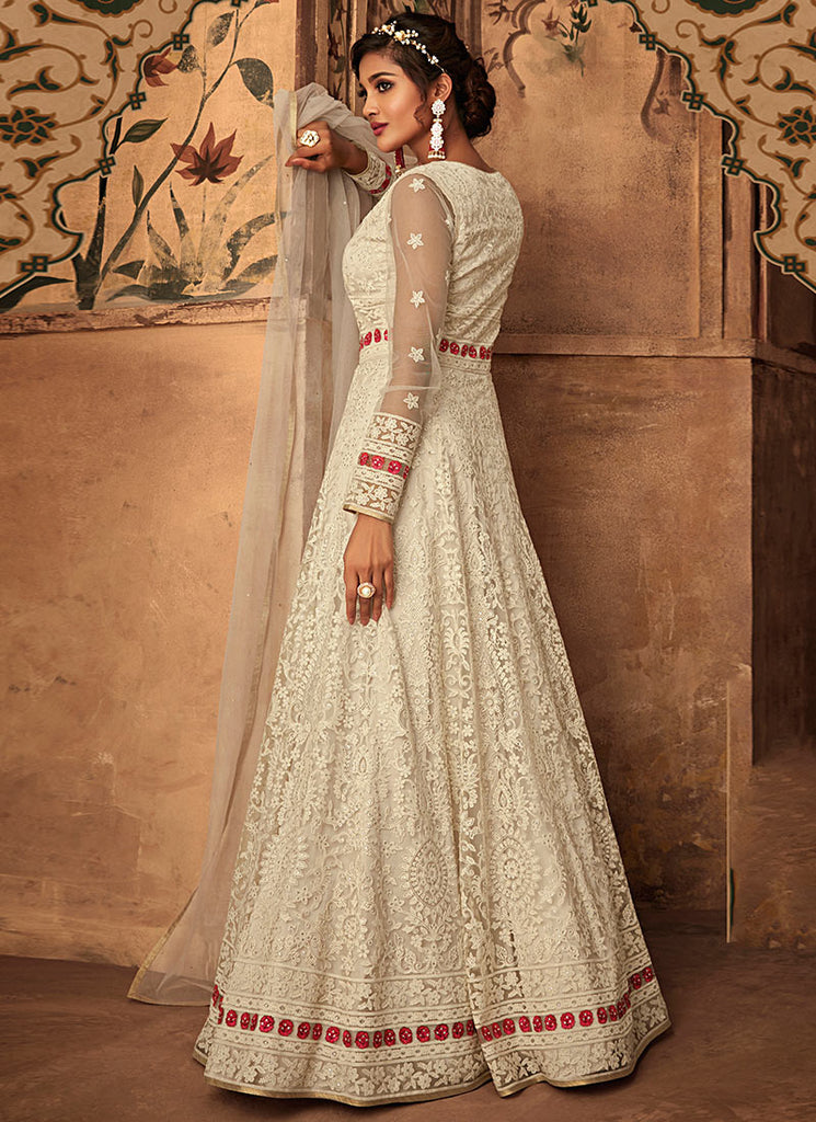 Off White Embroidered Abaya Style Anarkali Suit