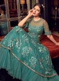 TURQUOISE EMBROIDERED NET ANARKALI