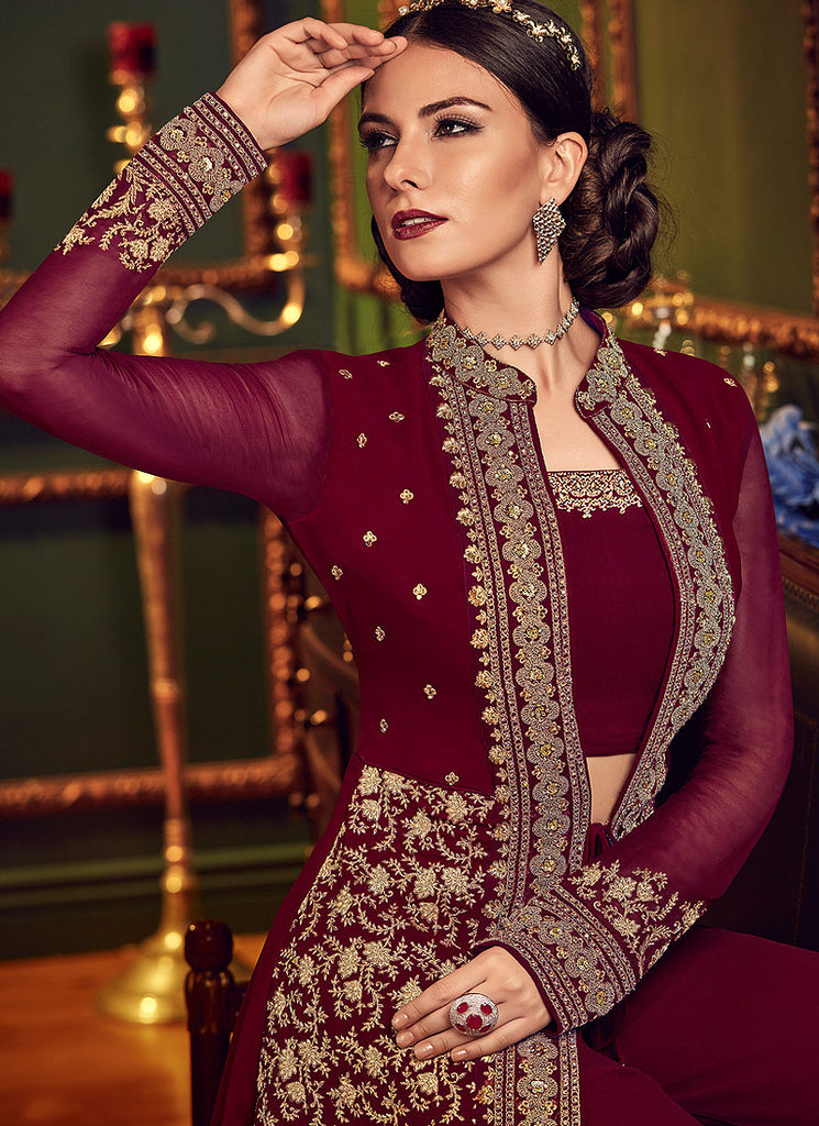 DEEP MAGENTA EMBROIDERED JACKET STYLE PALAZZO SUIT