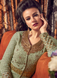 LIGHT PASTEL GREEN EMBROIDERED PANT STYLE ANARKALI