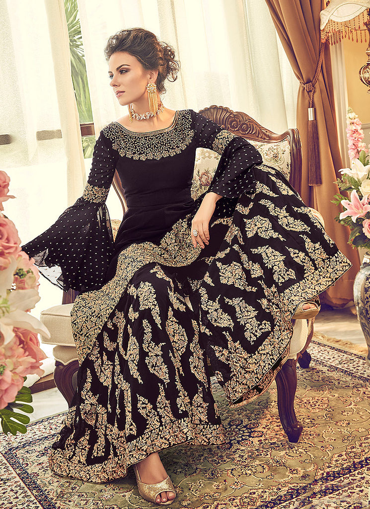 Black and Gold Embroidered Palazzo Suit