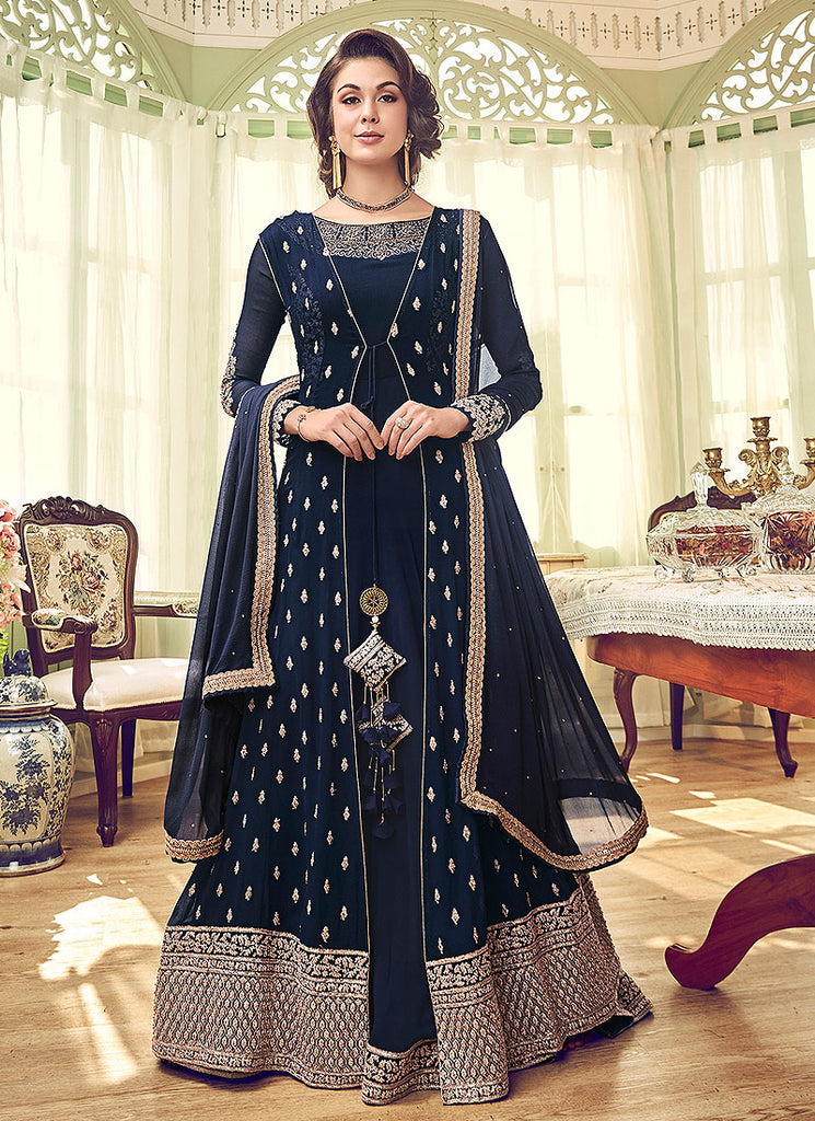 Blue and Gold Embroidered Jacket Style Anarkali