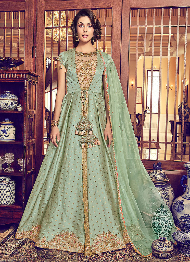 Beige and Green Embroidered Jacket Style Anarkali