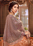 Mauve and Gold Embroidered Anarkali
