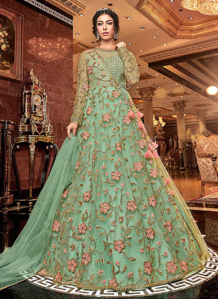 Green Floral Embroidered Anarkali
