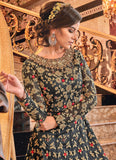Dark Grey and Gold Embroidered Jacket Style Anarkali