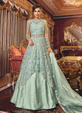 Light Blue Embroidered Lehenga/ Palazzo Suit