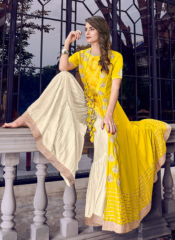 Yellow and Cream Embroidered Jacket Style Sharara