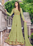 Green Embroidered jacket style Anarkali Gown