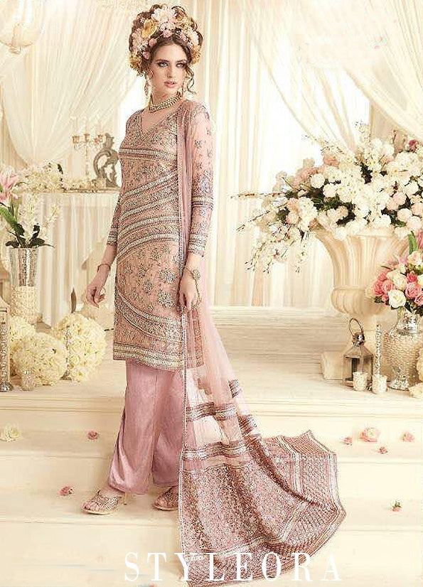 PEACH AND PINK EMBROIDERED JACKET STYLE SUIT