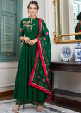 Fancy Dark Green Casual Wear Readymade Palazzo Style Suit