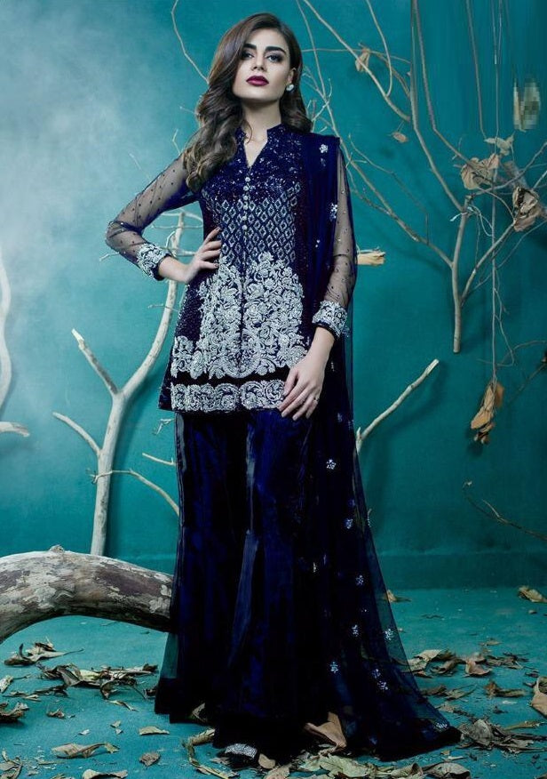 NAVY BLUE EMBROIDERED PAKISTANI STYLE SUIT