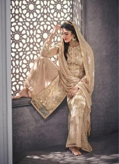 Beige Embroidered Straight Cut Suit