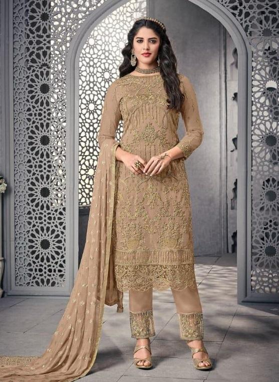 Brown Embroidered Straight Cut Suit